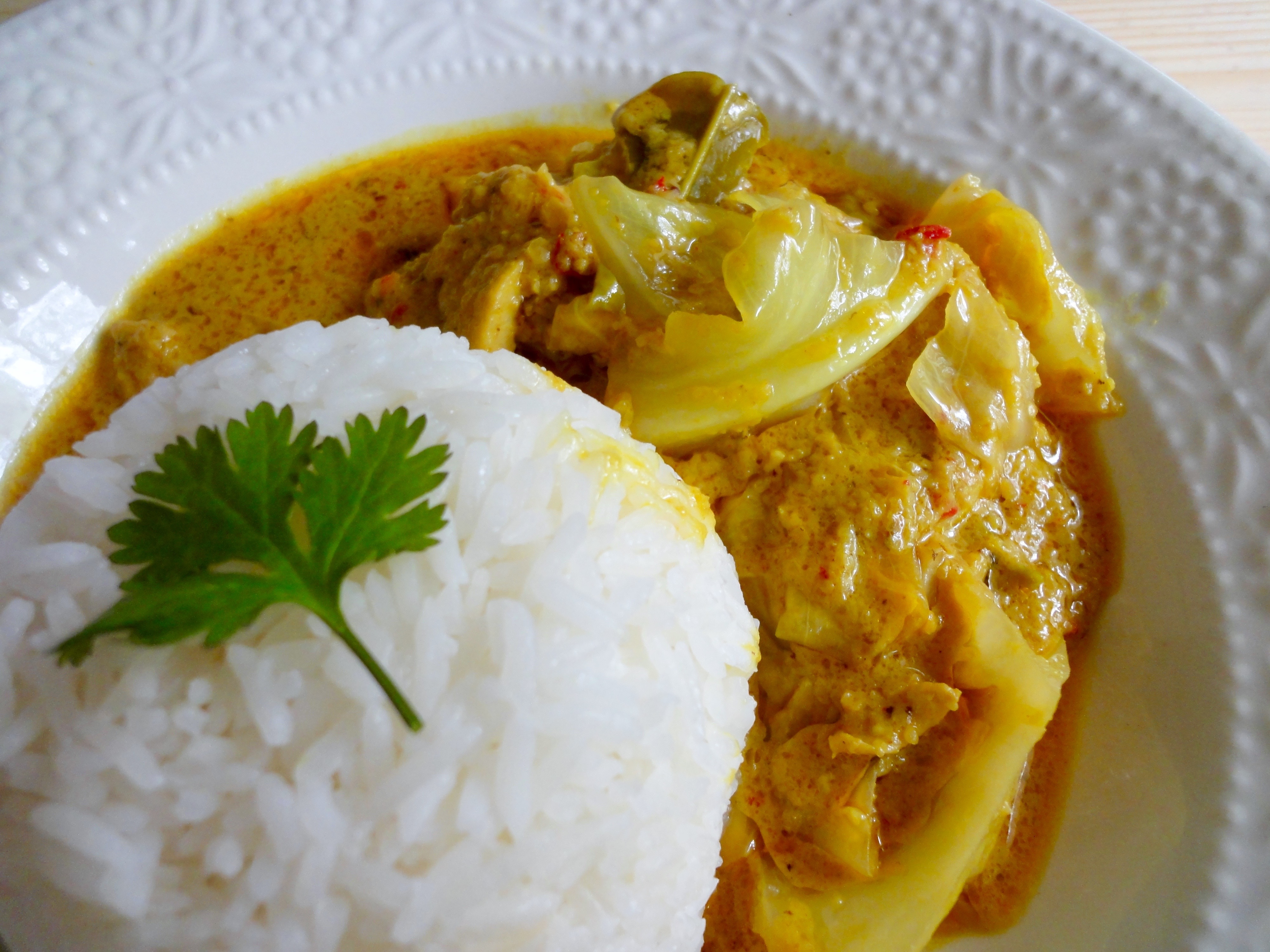 Yellow Curry served with freshly steamed white rice.