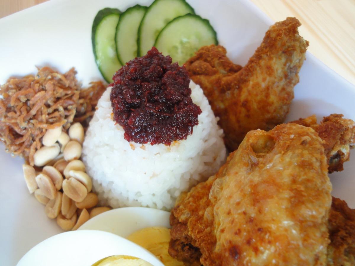 Complete plate of Nasi Lemak